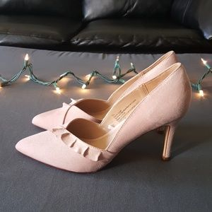 Soft pink suede heels